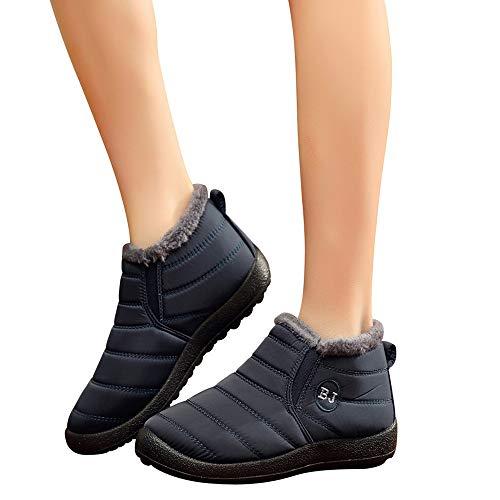 BHYDRY Schuhe Damen Herren Winter Warm PlüSchfutter Schneestiefel Einfarbig Warm Halten Stiefeletten Barfuß GefüHl, Rutschfeste Sohle, Flexibel Flache Schuhe Bequem Steppdecke Stiefel -