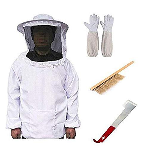 Huainiu Professionelle Bienenzucht Werkzeuge ZubehöR Set, Bienenzucht Anzug + Handschuhe + Schaber + Bienenpinsel FüR Imker, Imkerjacke Mit ReißVerschluss