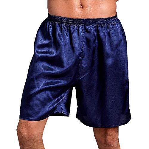 Preisvergleich Produktbild GODGETS Herren Schlafanzughose Hose Shorts kurz Satin unterwäsche Boxershorts Nachtwäsche Trunk Pyjamahose Bottoms elastischem Bund zum Schlafen Freizeit Blau L