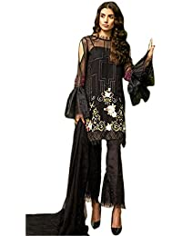Shoppingover Women's Georgette Pakistani Dress Material (19004RN, Black, Free Size)