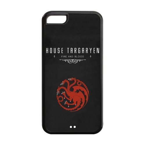 Custom iPhone 5c Case,Game of Thrones Design Fashion Pattern Hard Back Cover Snap on Case for iPhone 5C (Black/white)