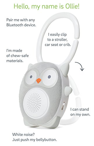 SoundBub by WavHello, White Noise Machine and Bluetooth Speaker   Portable and Rechargeable Baby Sleep Sound Soother – Ollie the Owl, Grey