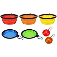 Set of 5 Colors Collapsible Travel Dog Bowls with 2 Free LED Dog Pendants