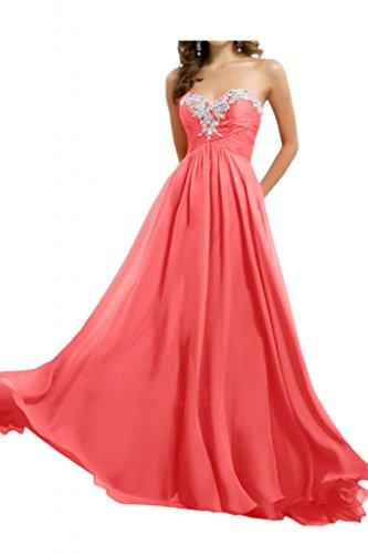 Toscana sposa sweet Heart Chiffon sposa giovane a lungo a forma di cuore per una serata vestimento un'ampia Party ball vestimento Wassermelonerot