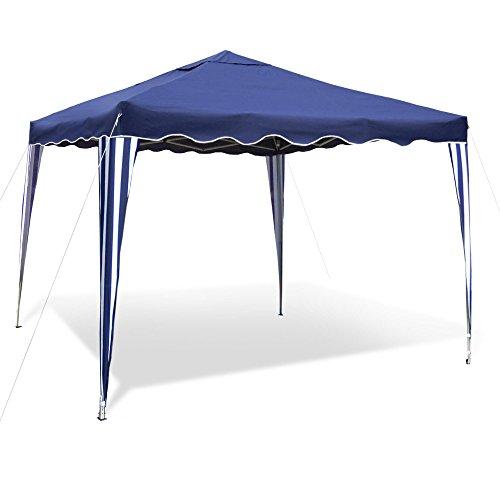 Gartenpavillon Falt-Pavillon 3 x 3 m, Dach blau, Material Oxford 200D, Metallgestänge, wasserabweisend, inklusiv Tasche, ohne Seitenwände, blau