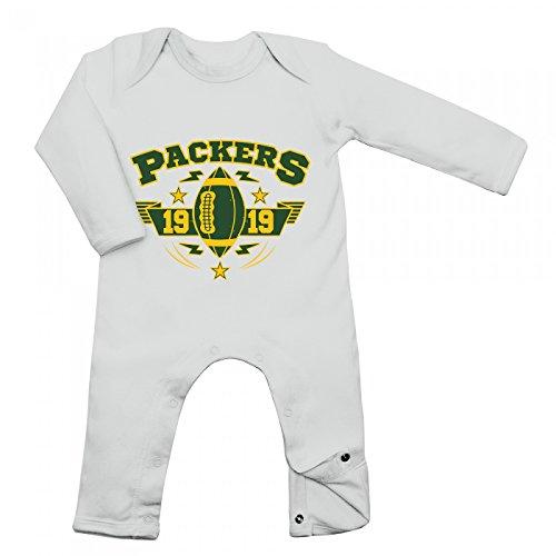 Shirt Happenz Packers Babybody 1919 Super Bowl American Football Langarm Langärmliger Strampler, Farbe:Weiß (White BZ13);Größe:12-18 Monate