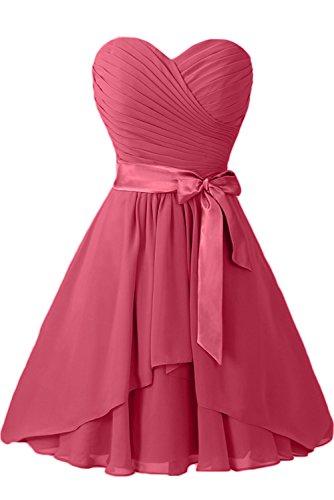 Gorgeous Bride Elegant Traegerlos A-Linie Chiffon Mit Satin Gürtel Knielang Abendkleider Ballkleider Festkleider Wassermelone