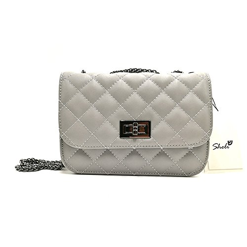 Sheli Gilrs Genuine Leather Miniature Cross-Body Quilted Chain Bag for Phone Summer Travel Dating Work (Leder Hobo Bag Cabrio)