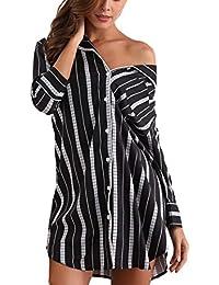 5e7061ee5c Giorzio Women Nightshirt 3 4 Sleeve Cotton Sleep Shirt Button Down Nightie  Sleepwear S-