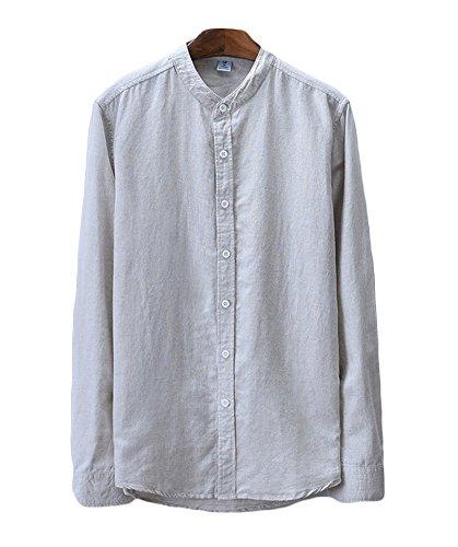 Icegrey camicia uomo con collo coreana camicie di lino a maniche lunghe colore solido camicie da spiaggia cachi 48