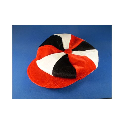 Red White & Black Flat Cap Novelty Jockey Fancy Dress Hat Horse Racing by Sports Fan Fancy Dress