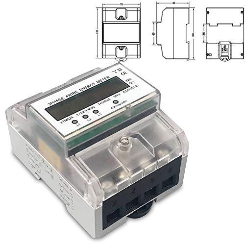 DOMINTY 3-Phasen-4-Draht Messgerät LCD digitaler Drehstromzähler Stromzähler MID GEEICHT/BEGLAUBIGT 3x230/400V 5(80) A für DIN Hutschiene Digitale Stromzähler