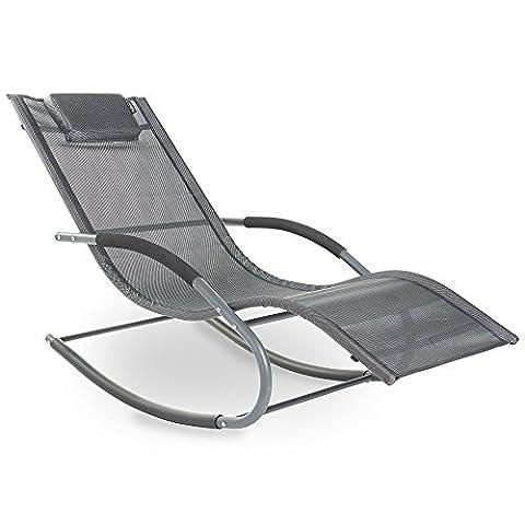 Chaise Longue A Bascule Jardin - VonHaus Chaise Longue à Bascule Textoline –