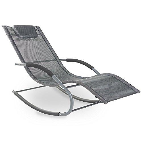 VonHaus Chaise Longue à Bascule Textoline – Chaise de Relaxation Extérieur pour Jardin, Patio, Terrasse