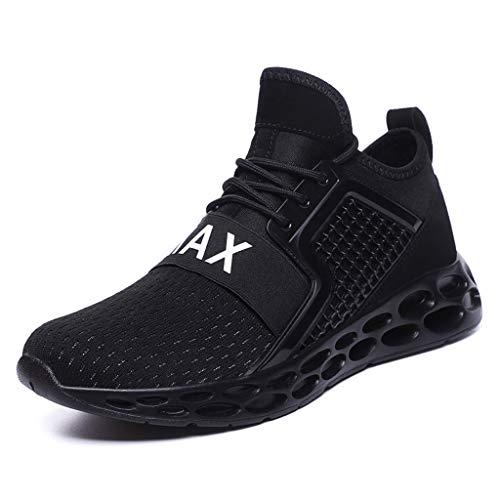 YEARNLY Herren Damen Sportschuhe Laufschuhe mit Luftpolster Hohe elastische Turnschuhe Profilsohle Sneakers Leichte Schuhe Rot, Schwarz, Blau 39-45