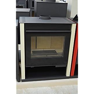 Estufa de leña color marfil chimenea quemador de troncos de leña estufa Top Flue grande Firebox 13/21 kw potencia de calefacción