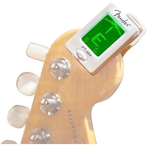 Fender FT-004 Accordatore Clip-On per Chitarra e Basso, Bianco - Bass Tuner