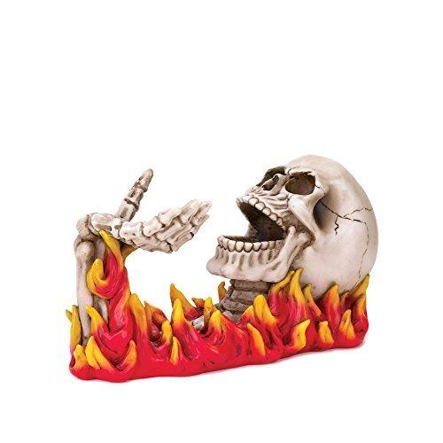 Koehler Home cocina decorativo regalo figura decorativa diseño de calavera en llamas para botella de vino soporte por bezg