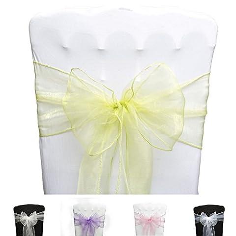 PONA ® Lot de 10 Nœuds de chaise en Organza avec bords ourlés - Vert anis - noeud mariage cérémonie réception anniversaire fête décoration ruban