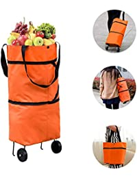 Exseson Foldable Shopping Trolley Bag for Vegetables and Grocery with Wheels