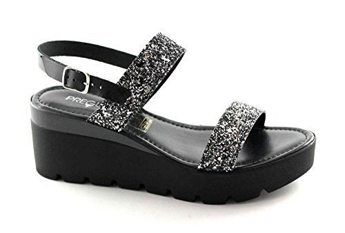 PREGUNTA IAD1786 nero scarpe donna sandali pelle zeppa cinturino strass 40