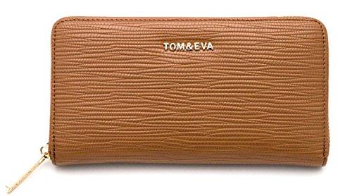 TOM&EVA Portefeuille Compagnon femme/Porte-Monnaie/Porte-carte/Portefeuille tout en un multifonction - Simili Cuir (Camel)