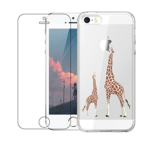 iPhone 5 / 5S / SE Hülle mit Hartglas Displayschutz, Blossom01 Cute Funny Kreative Cartoon Transparent Silikon Bumper für iPhone 5 / 5S / SE - Giraffe (Iphone 5 Glas Abdeckung)