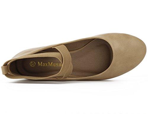 Maxmuxun Ladies Ballerine Chiuse Scarpe Tacco Tondo Marrone