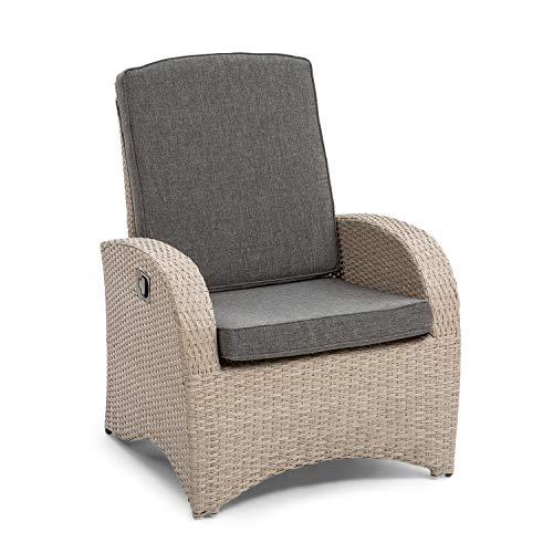 blumfeldt Comfort Siesta Sessel - stufenlos verstellbare Rückenlehne, Material Bezug: Polyester, Polsterung mit 8 cm Dicke, platzsparend zusammenlegbar, Gasdruckfeder, hellgrau