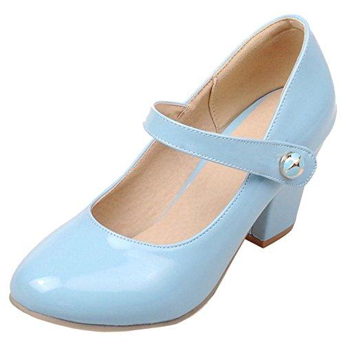 COOLCEPT Femmes Chaussures Bloc Talons Mary Jane Escarpins Sangle fete Soiree Bleu