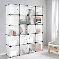Meerveil Interlocking Portable Plastic Wardrobe Cabinet,Transparent Cube Storage Organizer for Hanging Clothes,Modular Cabinet for Clothes, Books,Shoes, Toys