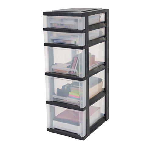 IRIS, Schubladenschrank / Schubladenbox / Rollwagen / Rollcontainer / Werkzeugschrank 'Smart Drawer Chest', SDC-323, mit Rollen, Kunststoff, schwarz / transparent