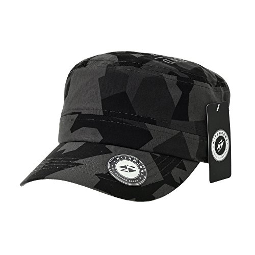 WITHMOONS Baseballmütze Army Cadet Cap Military Camouflage Pattern Star Embroidery Cotton Baseball Cap CR4924 (Black)