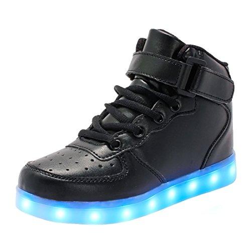 bevoker Leucht Schuhe Kinder High Top LED Turnschuhe Blinkschuhe für Mädchen Jungen Unisex (Kinder Fur Schuhe)