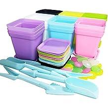 REKYO 21 Paquetes Macetas De Plástico Coloridas Cuadradas con Paletas/ Bandejas para Plantas Y Flores