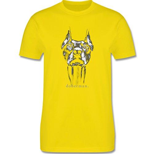 Hunde - Doberman - Herren Premium T-Shirt Lemon Gelb