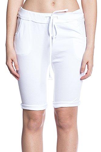 Abbino 5079 Pantaloncini Donne Ragazze - Made in Italy - 5 Colori - Mezza Stagione Primavera Estate Autunno Fit Casual Tempo Libero Sexy Alla Moda Regular Classiche Eleganti Modello Bianco