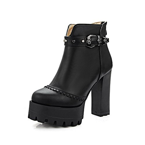 AllhqFashion Damen Reißverschluss Hoher Absatz Rund Zehe Stiefel mit Rivet Set, Weiß, 38