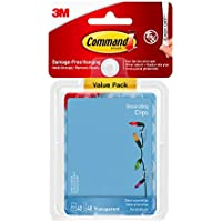 Command Clear Decorating Clips for Christmas and Fairy Lights, Value Pack of 40 Clips and 48 Clear Command Adhesive Strips