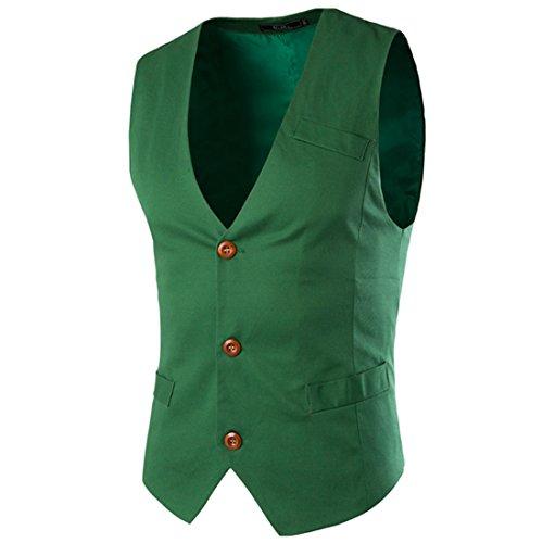 Boom Fashion Westen Herren Anzugweste Business Casual Slim Fit Weste V-Ausschnitt Blazer Grün