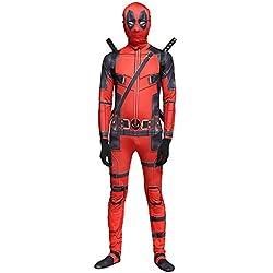 QQWE Marvel Deadpool Disfraz Disfraz Adulto Niños Halloween Cosplay Traje Mono Spandex Monos Cosplay Conjunto Completo De Ropa,B-Adult-S