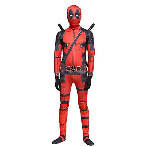(QQWE Marvel Deadpool Kostüm Erwachsene Kinder Halloween Cosplay Kostüm Body Spandex Overalls Cosplay Voller Satz Kleidung,A-Children-XL)