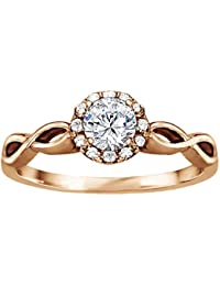 Silvernshine 1.16 Cttw White Clear CZ Diamond 10k Rose Gold Plated Wedding Engagement Ring