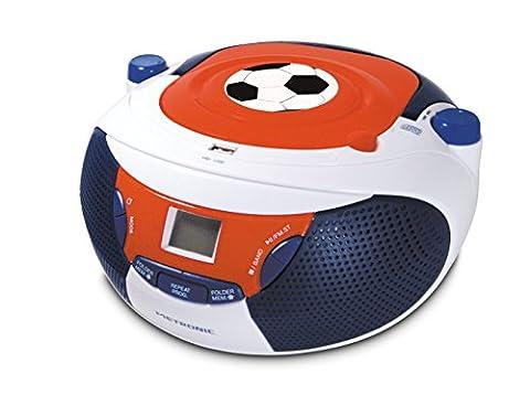 Metronic 477123 Radio / Lecteur CD / MP3 Portable pour Enfant Foot avec Port USB - Bleu/Blanc/Rouge