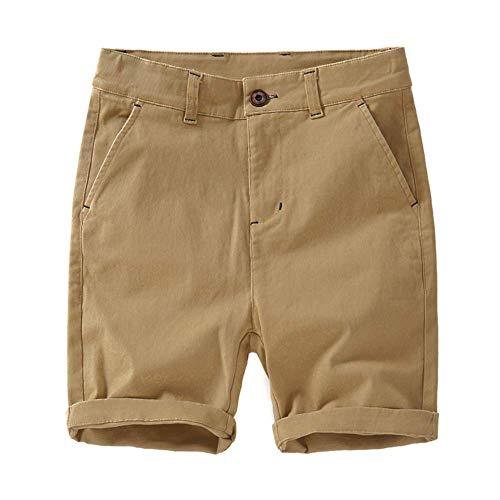 Jungen Shorts mit Verstellbarer Taille - Chino Shorts für Jungen 4-12 Jahre, 6 Farben zur Auswahl (tan 160) -