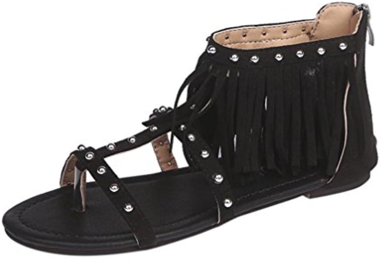 Luoluoluo Donna Fashion Solid Solid Rivet Tassel Solid Fashion Roman Flat Heel   e8786f
