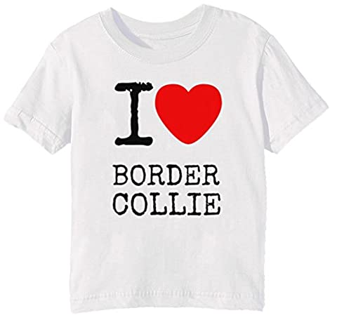 I Love Border Collie Dogs Enfants Unisexe Garçon Filles T-shirt Cou D'équipage Blanc Manches Courtes Taille S Kids Unisex Boys Girls White Small Size S