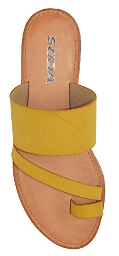 f17f74a55 SODA Shoes Women Flip Flops Flat Summer Basic Sandals Thongs Toe Ring Joan  Yellow Mustard 7