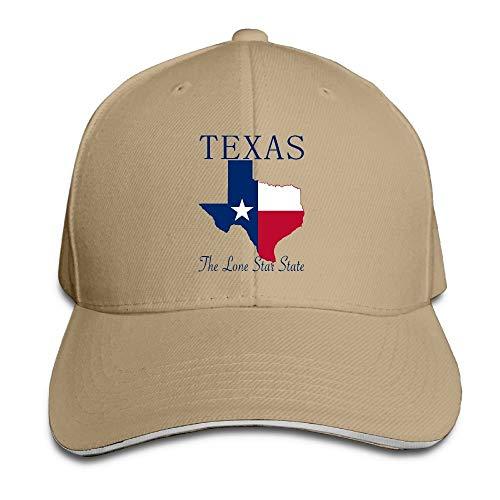 (Hoklcvd Texas The Lone Star State Baseballmützen Unisex-Vintage-Hysteresen-Sandwich-Hüte Design24)