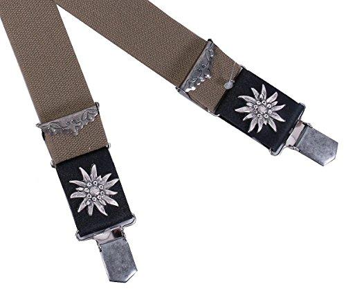 Trachtenhosenträger Herren - Hosenträger Trachten für Lederhose mit Edelweiß - Braun/Beige